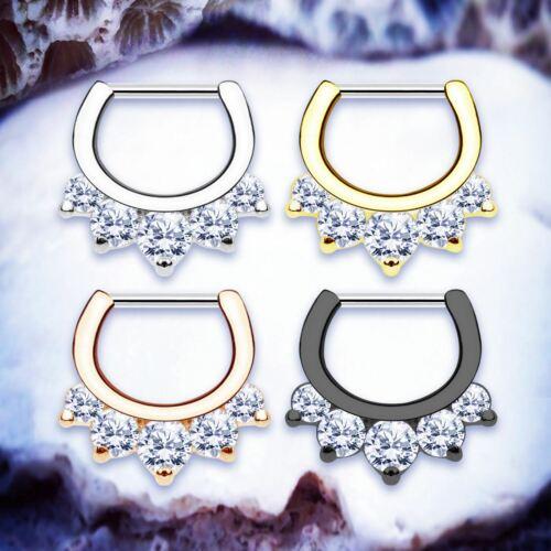 LUCIE TITANIUM Septum Ring Black Daith Piercing Crystal Cartilage Hoop16G Tragus