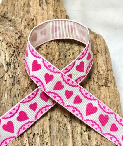Wedding Love 1m or 3m 16mm Love Heart Grosgrain Valentines Pink or White