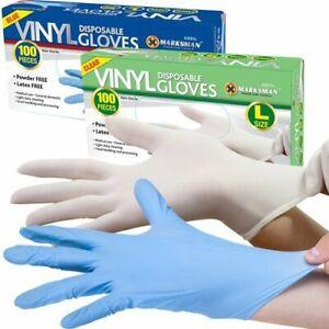 Boite-de-100-gants-jetables-en-vinyle-sans-poudre-Marksman-Larges-Transparen