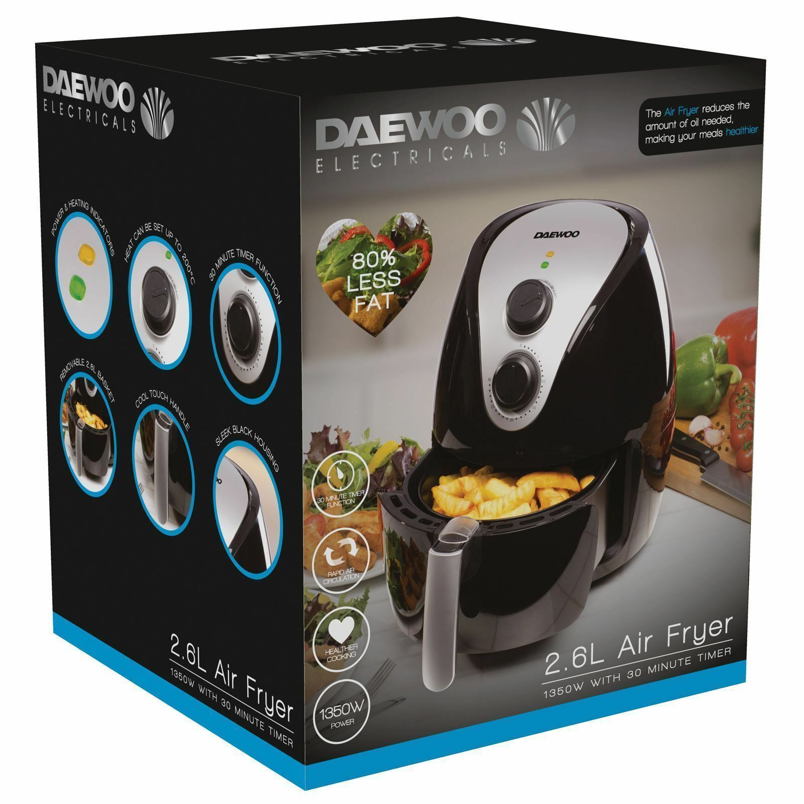 Daewoo SDA1241 1350W 2.6L Faible Fat Oil Libre Healthy Rapid Air Fryer with Timer