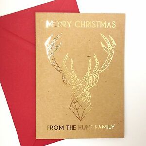 6-10-Luxury-gold-foil-on-kraft-personalised-christmas-cards-STAG-GEOMETRIC