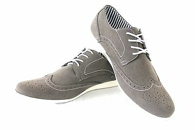 New Men's Grey Coronado Cody Shoes Round Toe Suede Casual Lace Up Denim Friendly