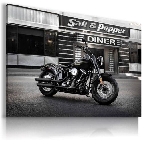 HARLEY DAVIDSON BLACK MOTOR BIKE Large Wall Canvas Picture ART  HD4 MATAGA