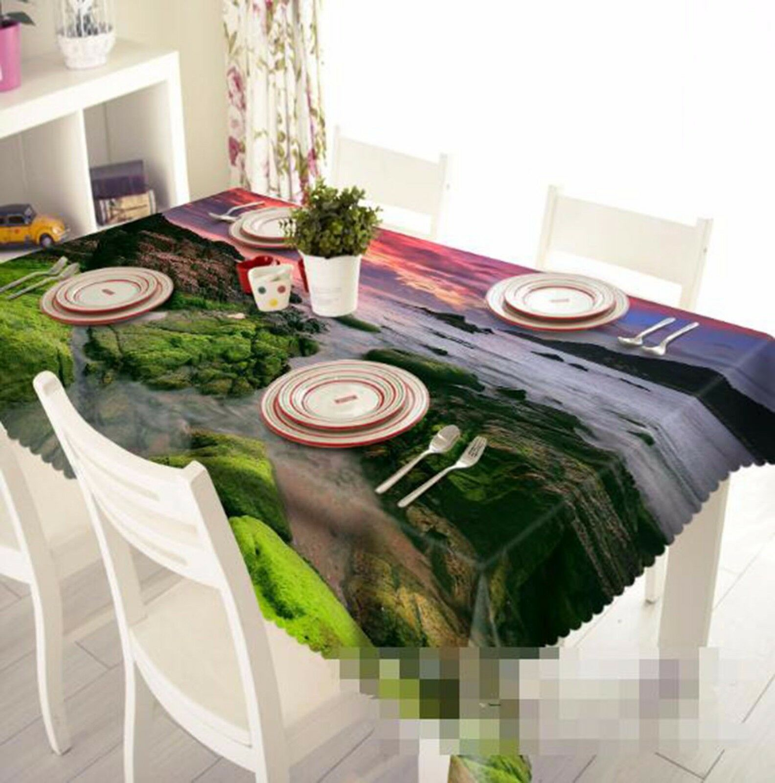 3D River 413 Nappe Table Cover Cloth fête d'anniversaire AJ papier peint Royaume-Uni Citron