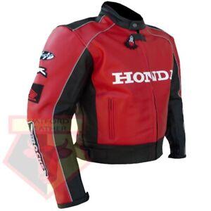 HONDA-5523-RED-MOTORBIKE-MOTORCYCLE-BIKERS-COWHIDE-LEATHER-ARMOURED-JACKET