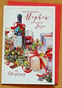 WONDERFUL NEPHEW CHRISTMAS CARD ~ MODERN DESIGN ~ QUALITY CARD /& LOVELY VERSE