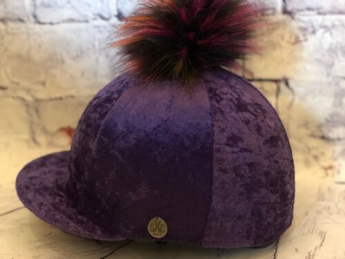 Luxury Crushed Velvet Faux Fur Pompom Riding Hat Silk Cover Equestrian Purple