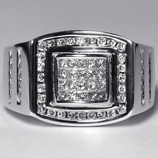 2d4694400f41a 14k White Gold 1.01 Ct Invisible Set Princess Diamond Mens Signet Pinky Ring