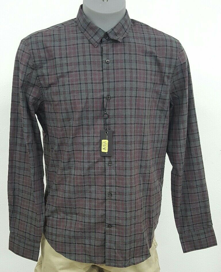 John Varvatos U.S.A Luxe Red Grey Plaid Button Up Men's L S Shirt NWT  S M L