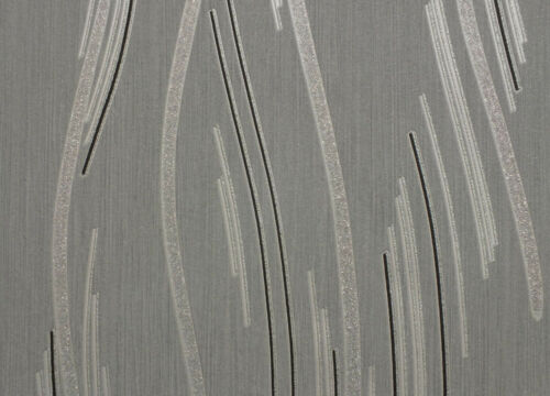 Glitter Wallpaper Shimmer Textured Modern Lines Stripes Grey Black Silver