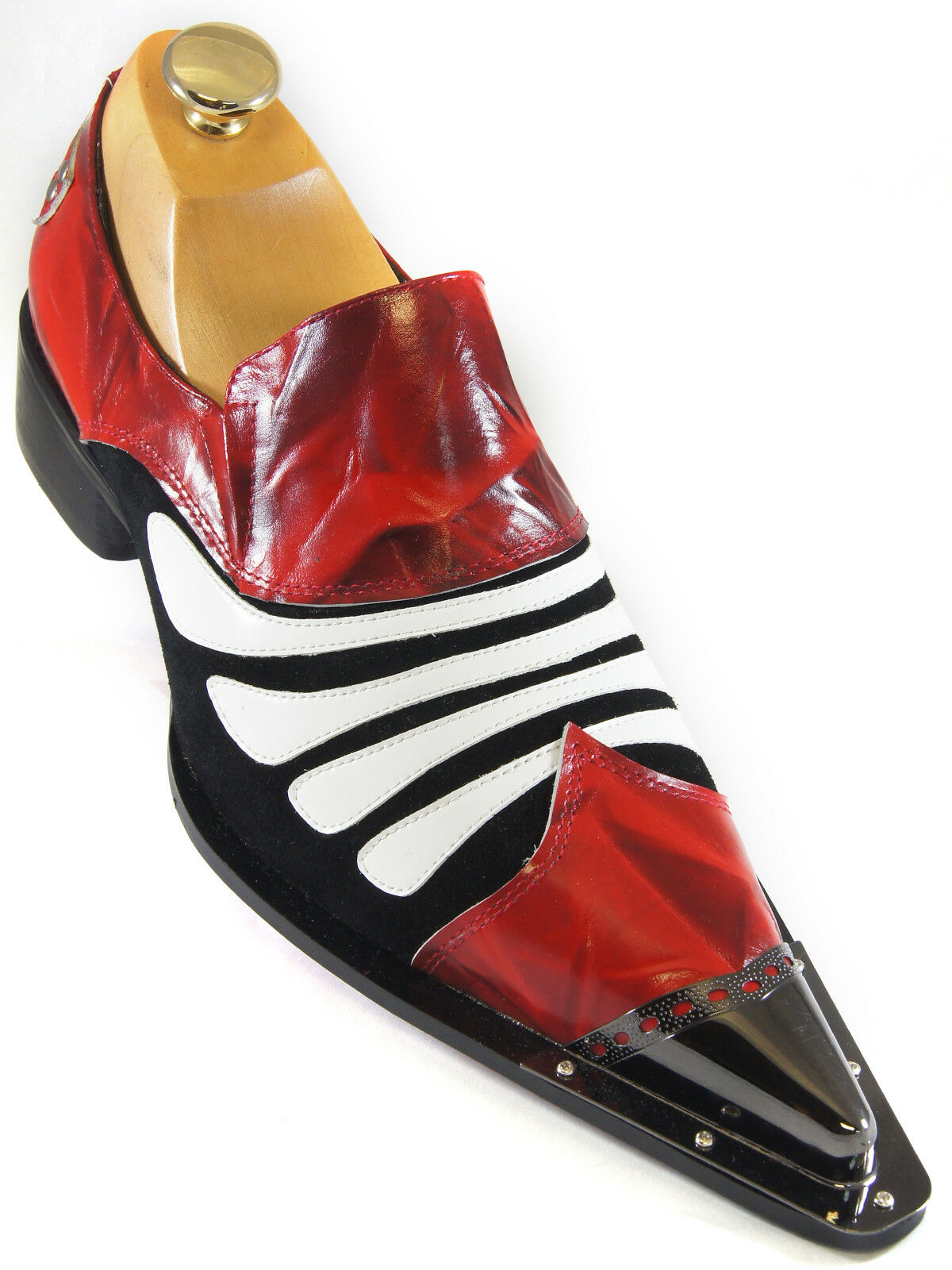 Zota Mens Black Red White Patent Leather Metal Tip Slip On Trendy Loafer shoes