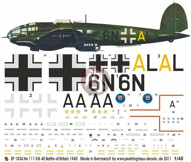 Peddinghaus 1//48 Heinkel He 111 H-6 Markings 2.//KG 26 Grosseto Italy 1942 2529