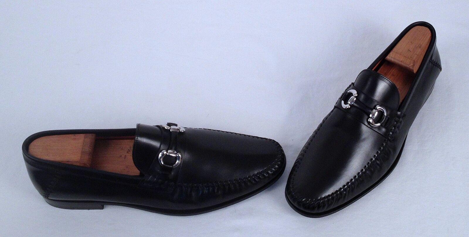 Santoni  Horse Bit Loafer- Black- Size 10 D   698 (H4)