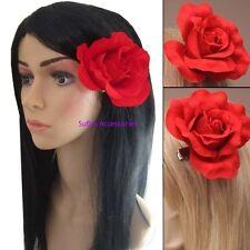Large Big Red Rose Flower Hair Clip Bridal Fork Clip Rockabilly 50s Vintage Girl