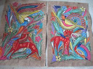 Mexican-Folk-Art-Amate-Bark-Painting-Guerrero-Tropical-Bird-Deer-Pair-Wall-Art