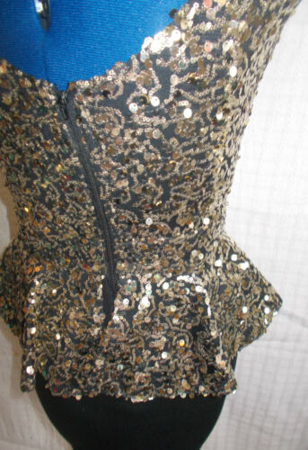 Fab Size8 Paillettes Wiggle Gold 6 Taglia Dress 8 Designer blackwith 'parigino' ArqEA4