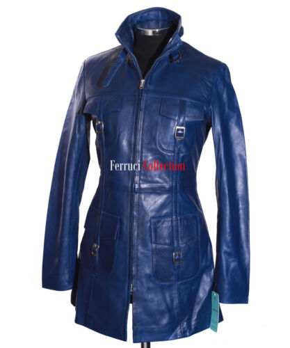 Frakke Blue Nappa Style Real Soft Royal Lauren Lambskin Safari Læder Ladies Ny F5AwHBqP