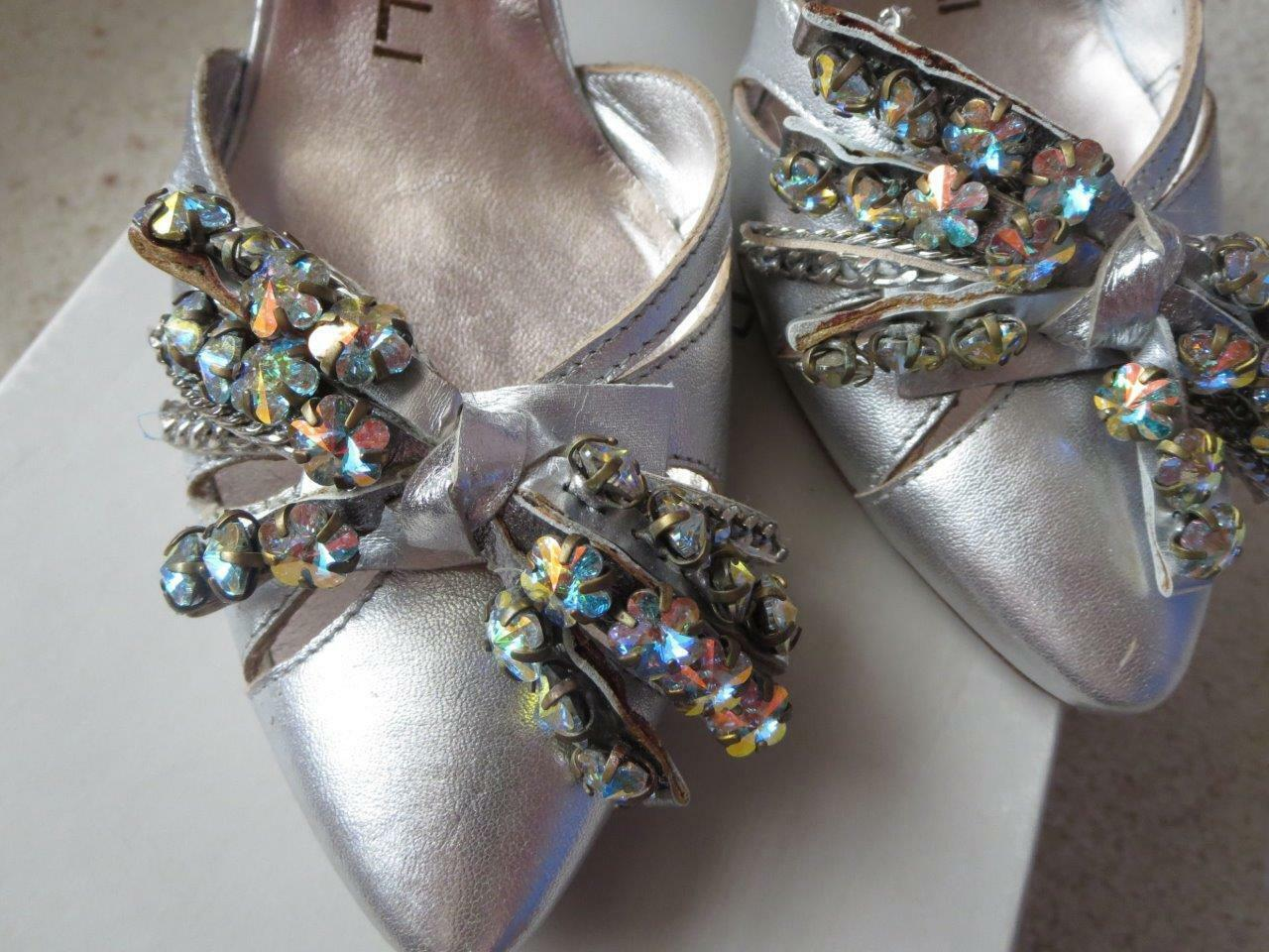 499 NIB Giancarlo Paoli Silver Leather Rhinestones Pump shoes US 6   EUR 36 New