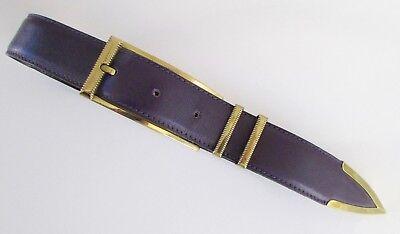Gianni Versace Mens Belt Metal Link Black Leather Italy