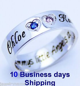 PERSONALIZED-925-SILVER-JEWELRY-ANY-2-FAMILY-NAMES-PROMISE-SISTER-LOVE-RING-BAND