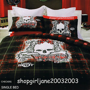 Piping-Hot-Checkers-Single-US-Twin-Bed-Quilt-Doona-Duvet-Cover-Set