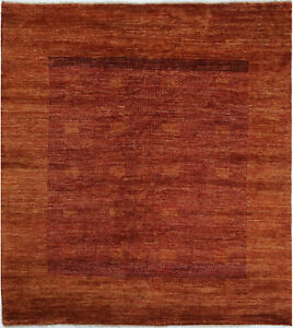 6X6-Hand-Knotted-Gabbeh-Carpet-Tribal-Rust-Fine-Wool-Square-Rug-D34126