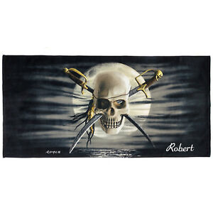 Kaufman-Patch-Skull-Printed-Personalize-Kids-Beach-Bath-Pool-Towel-30-039-039-X60-039-039