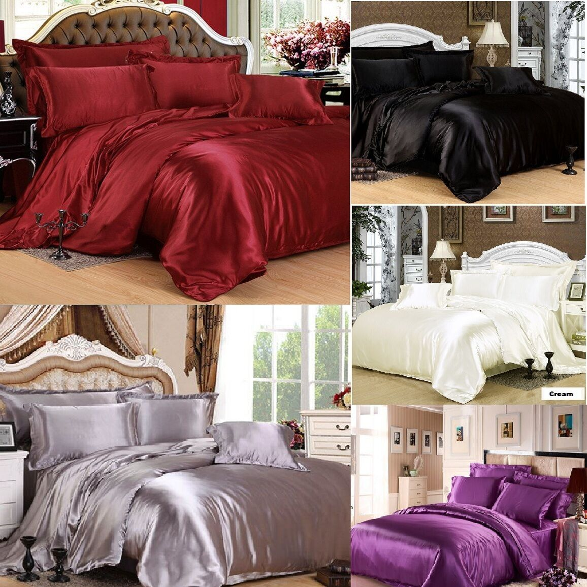 dfd08fa2b473 Viceroybedding 7 Piece Satin Bedding Sets Super King Bed Size - Black for sale  online   eBay
