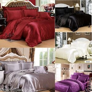 7pc Satin Bedding Sets Duvet Cover Fitted Sheet 4 Pillow Cases