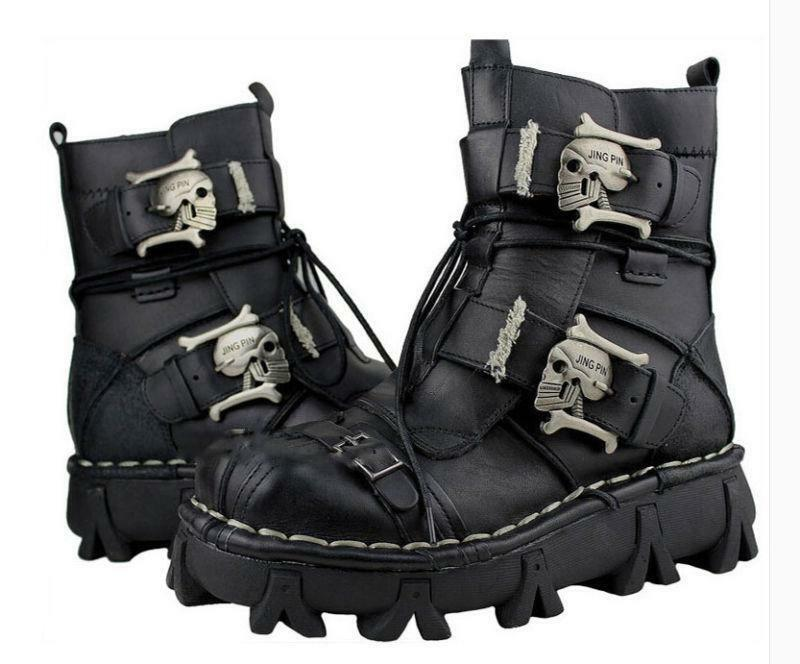 Mens Genuine Leather Skull Combat Ankle avvio avvio avvio Military Lace Up Skid Resistance Y5 3d8338