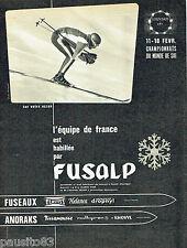 PUBLICITE ADVERTISING 096  1962  Fusalp équipement ski eurovision RTF équipe Fra