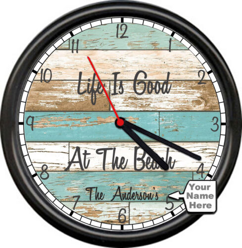 Personalized Name Lake Cabin Beach Rustic Life Is Good Sign Wall Clock NEW