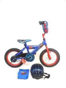 Huffy-Boy-039-s-14-Spiderman-Bicycle-Blue-Red-Wheels-Handlebars-With-Bag-And-Helmet