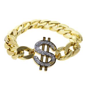 Gold US Dollar Bracelet Costume Gangster Big Daddy Hiphop Rapper Dress Up