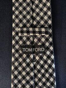 New-Tom-Ford-Mens-Necktie-Tie-Black-White-Diagonal-Grid-Check-3-75-X-58