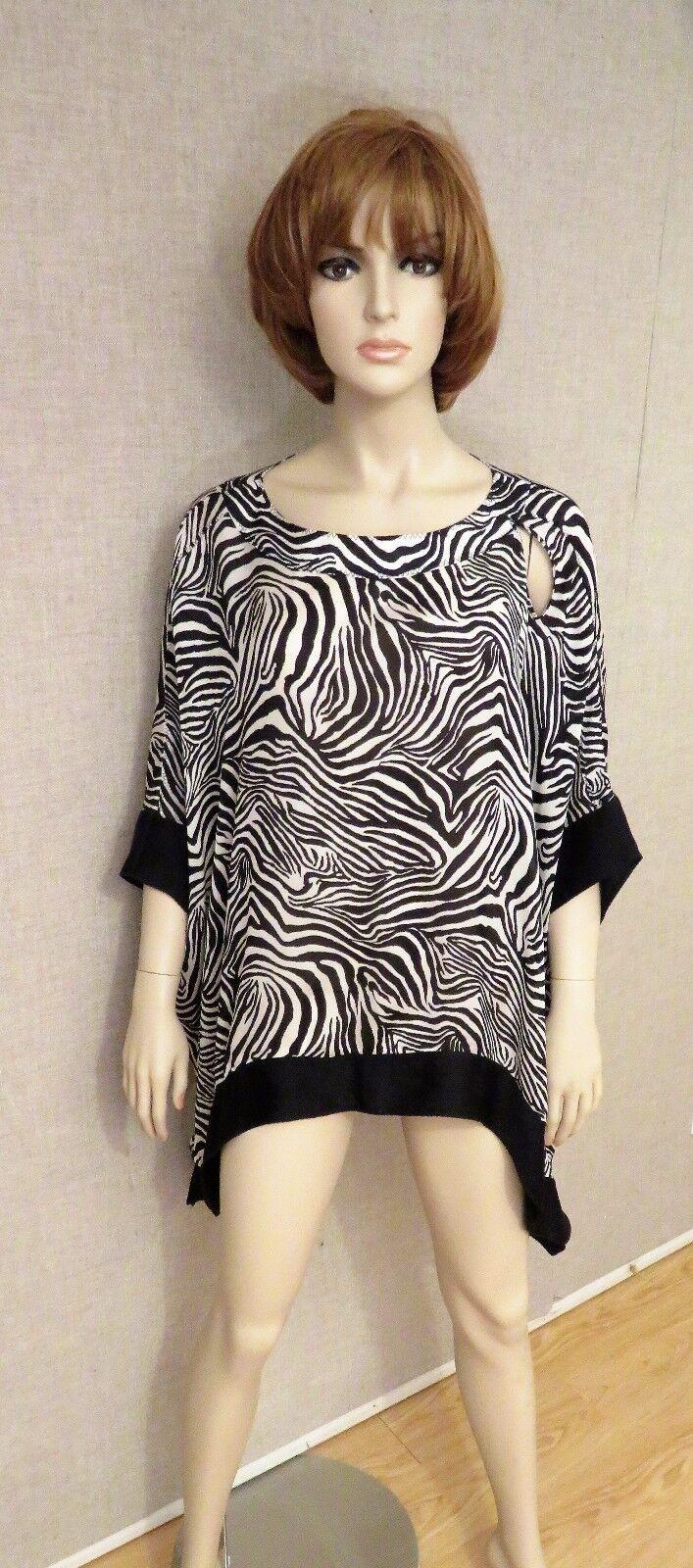 ST JOHN SPORT  495 Silk Poncho Kimono Top Tunic Duster Scarf Shirt new nwt zebra