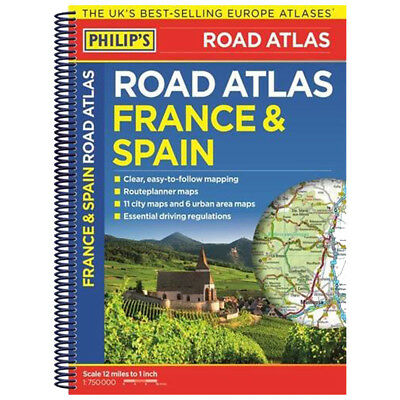 Clear Map Of France.Philip S Map Road Atlas France And Spain Clear Easy To Follow Mapping Brand New Ebay