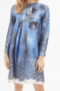 Ravissante Robe Cacharel 100 Soie Bleu Blanc T M Neuve Etiquette Ebay