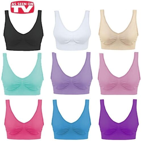 SEAMLESS BRA CROP TOP VEST COMFORT SHAPEWEAR LEISURE SPORTS YOGA GYM PADDED