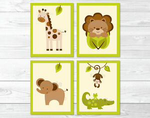 Safari Wall Art baby safari lion monkey elephant giraffe printable nursery wall