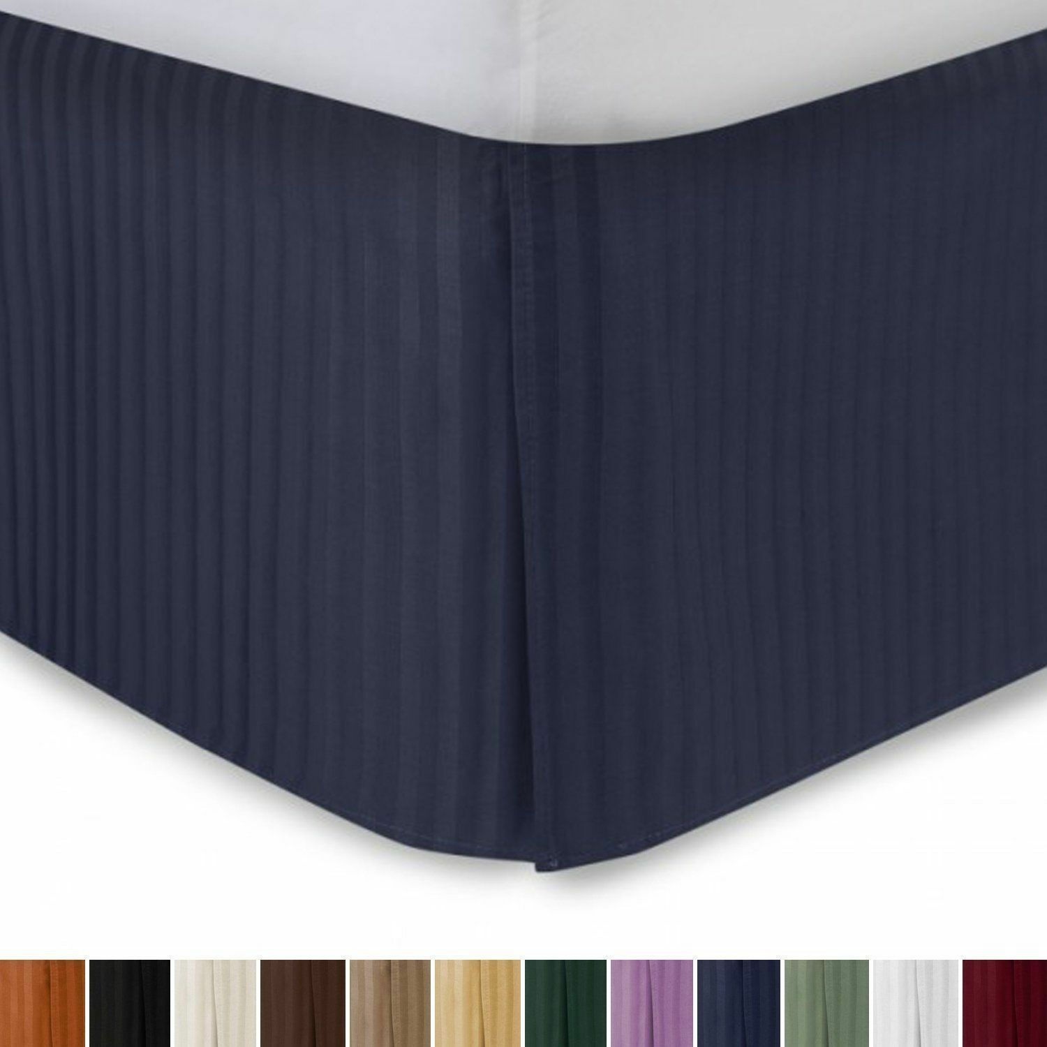 1 Qty Bed Skirt (All Size US) 100% Egyptian Cotton 1000 TC Navy bluee Stripe
