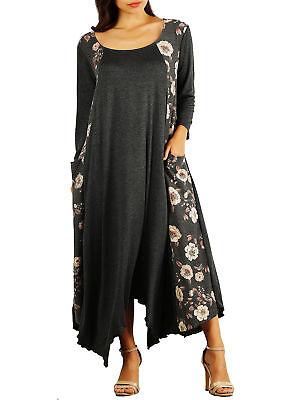 PLUS SIZE Women Long Sleeve Casual Maxi SLIMMING Dress Bodycon XL 2X 3X BLACK US