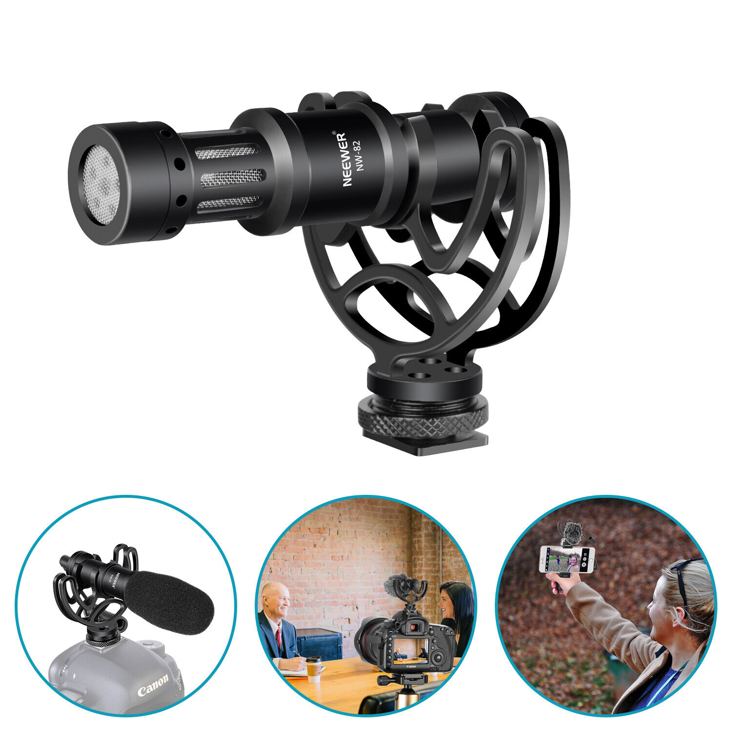 Neewer Universal Video Microphone with Shock Mount for Cameras and Smartphones