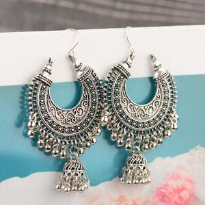 Indian-Jhumka-Gypsy-Jewelry-Sliver-Gift-Boho-Vintage-Ethnic-Womens-Drop-Earrings
