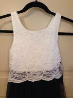 Girls Fancy Dress Size 7 Kids White & Black Church Lace Wedding Sleeveless