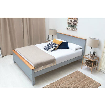 Modern Solid Wooden Bed Frame White / Grey Oak Top Single / Double / King Size