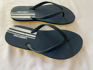 Lands-End-youth-flip-flop-sandals-boys-girls-size-3-navy-blue-and-yellow-EUC