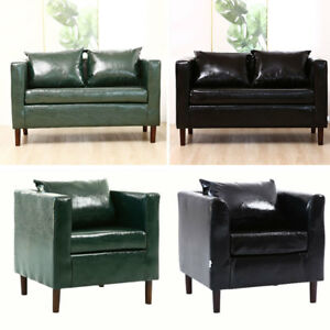 Details about Black/Green Retro Chesterfield Oil Wax Leather Sofa Chair  Single Double Seat Tub