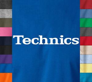 TECHNICS-Logo-T-Shirt-DJ-Djing-Turntable-Music-Equipment-EDM-Party-Headphone-Tee