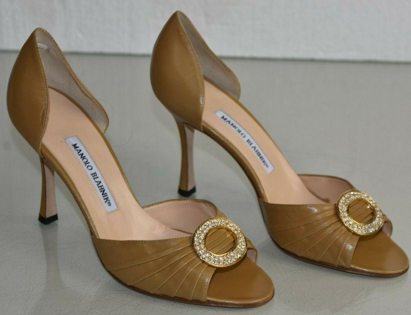 Neu Manolo Blahnik Sedaraby Kamel Beige Leder Jeweled Absatz Schuhe 38.5 41